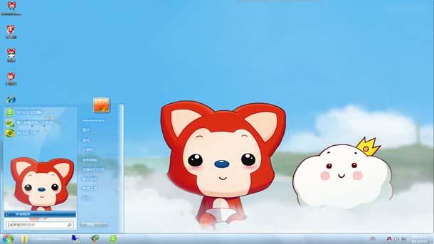 阿狸玩耍win7桌面主题下载:一只穿着白色短裤的,红色的小狐狸在天空上